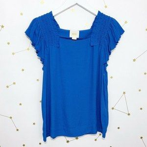 Anthro • Maeve Blue Ruffle Sleeve Blouse Top 2